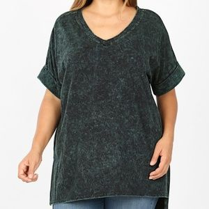 Plus Size Green Mineral Wash Zenana Top